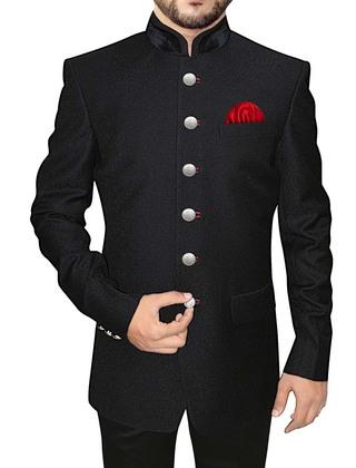 Mens Black Printed Polyester 3 Pc Jodhpuri Suit 6 Button