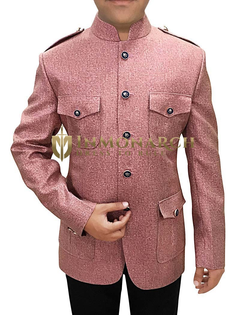 Mens Plum Jute 2 Pc Jodhpuri Suit Safari Style
