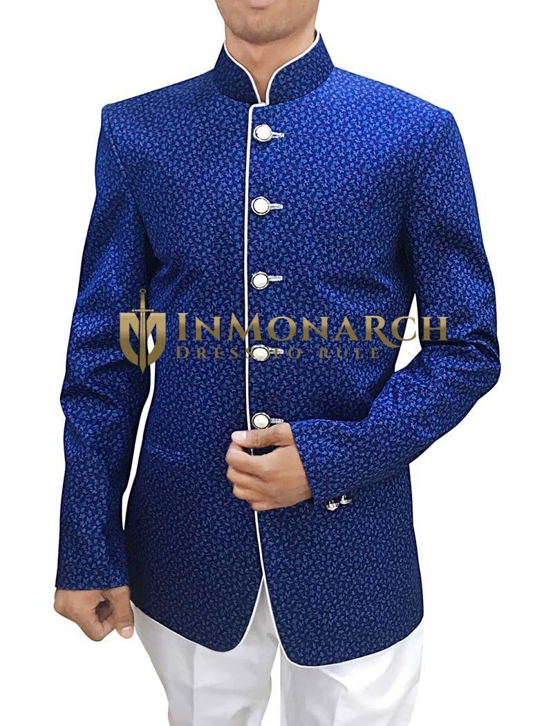 Mens Blue Printed Cotton 2 Pc Jodhpuri Suit
