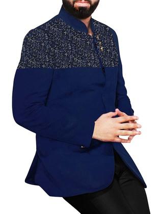 Mens Navy Blue 2 Pc Jodhpuri Suit Velvet Patched
