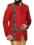Mens Crimson Red 3 Pc Jodhpuri Suit Designer
