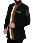 Mens Black Velvet 3 Pc Jodhpuri Suit Wedding