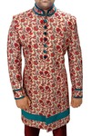 Indian Sherwani for Men Cream Indowestern Printed Sherwani