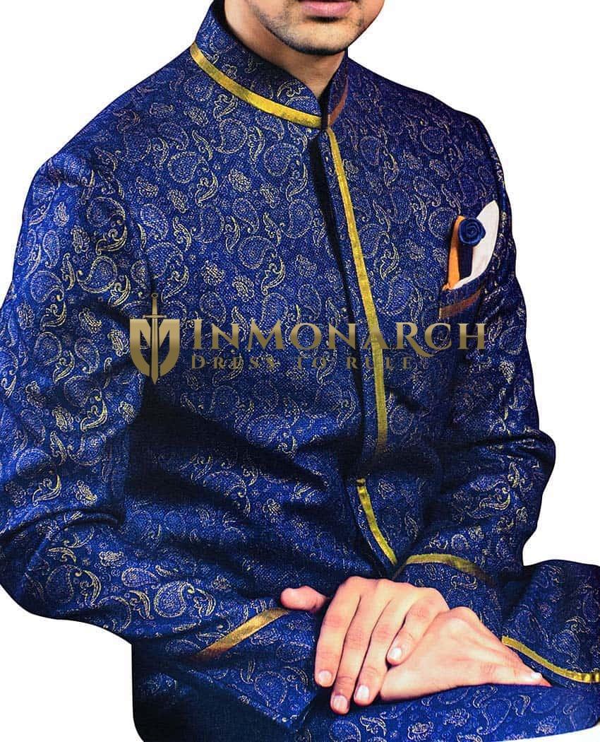 Mens Sherwani Royal Blue Indowestern Paisley Pattern kurta for jeans