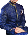 Mens Sherwani Royal Blue Indowestern Paisley Pattern kurta for jeans