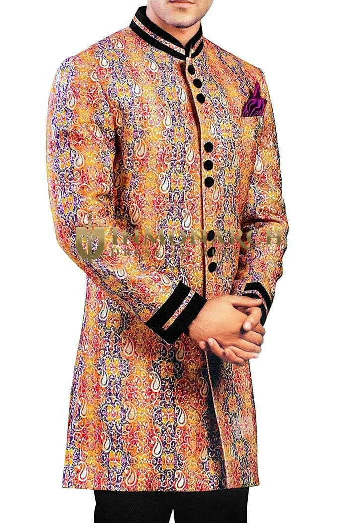 Sherwani for Men Wedding Peach Indowestern Sherwani Paisley