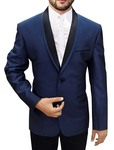 Mens Slim fit Casual Navy Blue Polyester Blazer sport jacket coat Two Button