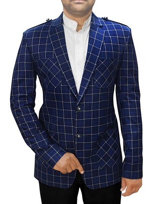 Mens Slim fit Casual Navy Blue Checks Blazer sport jacket coat Safari Style