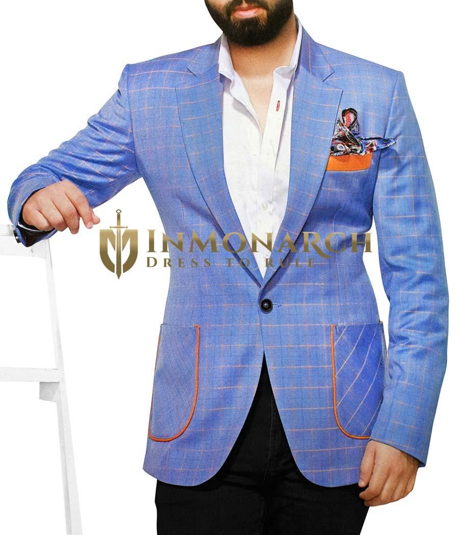 Mens Slim fit Casual Sky Blue Checks Blazer sport jacket coat Notched Lapel