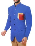 Mens Royal Blue 2 Pc Jodhpuri Suit Partywear