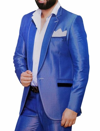 Mens Royal Blue 4 Pc Partywear Suit Notched Lapel