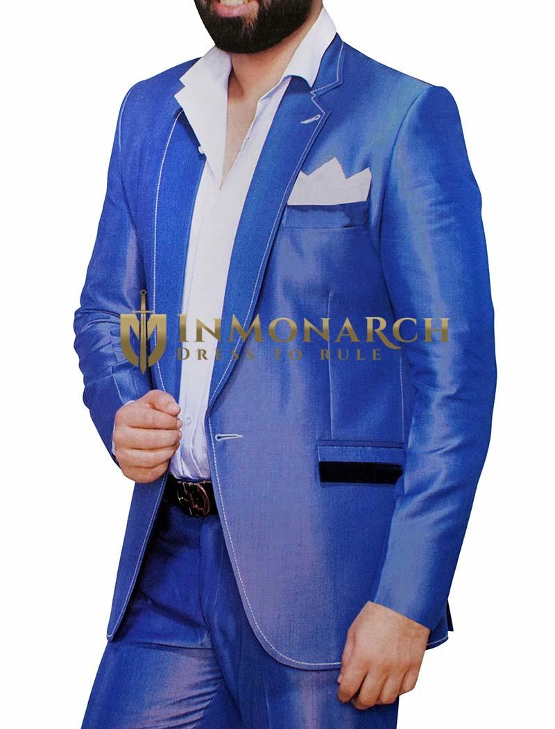 Mens Royal Blue 4 Pc Partywear Suit Notched Lapel