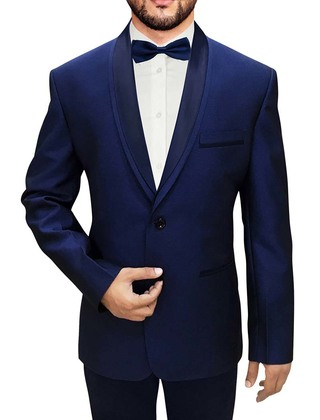 Mens Navy Blue Polyester 4 Pc Tuxedo Suit Two Button