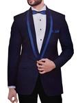 Mens Navy Blue Velvet 4 Pc Tuxedo Suit Polka Design