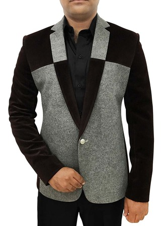 Mens Slim fit Casual Gray and Brown One Button Blazer sport jacket coat Notch Lapel