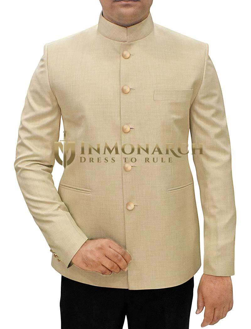Mens Beige 2 Pc Jodhpuri Suit Partywear