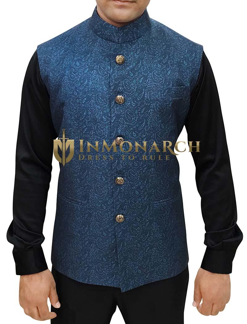 Mens Dark Navy Printed Jacket Modi Jacket for Men