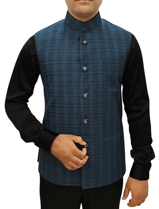 Mens Dark Navy Checks Nehru Vest Wedding Indian Vest