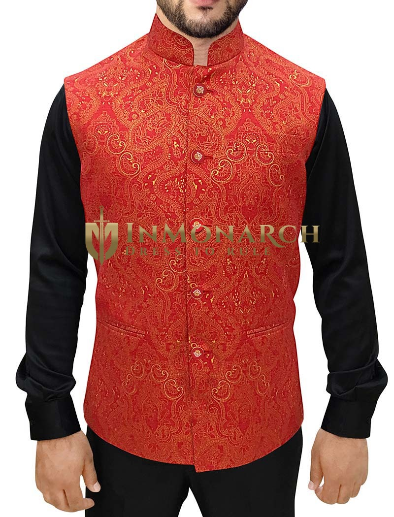 Indian Vest Men Orange Nehru Jacket 5 Button