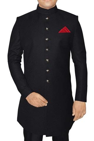 Mens Western Attire Black Sherwani Indian Weddingsuit
