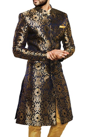 Groom Sherwani For Men Wedding Blue and Golden Wedding Sherwani