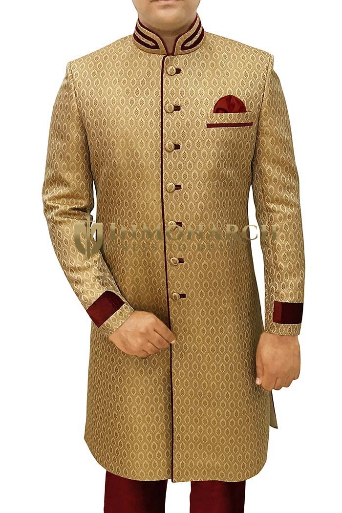 Mens Sherwani For Men Golden Sherwani For Men Maroon Piping