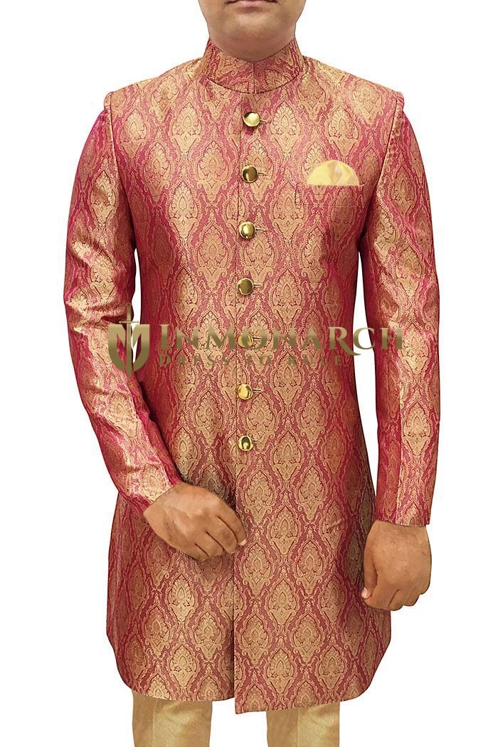 Mens Indo Western Crimson Red Sherwani For Men Ethnic