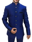 Mens Royal Blue 2 Pc Jodhpuri Suit Wedding