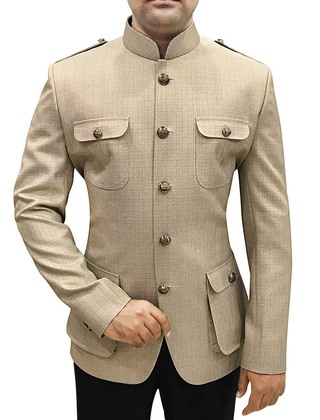 Mens Beige Polyester Viscose 2 Pc Jodhpuri Suit Safari