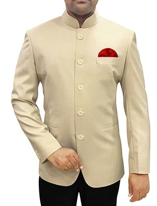 Mens Beige Polyester 3 Pc Jodhpuri Suit Traditional