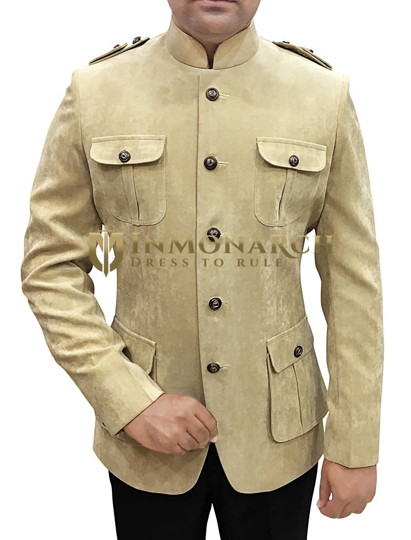 Mens Beige Velvet 2 Pc Jodhpuri Suit Safari Style