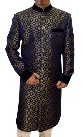 Mens Navy Blue Brocade 2 Pc Indo Western Velvet Work