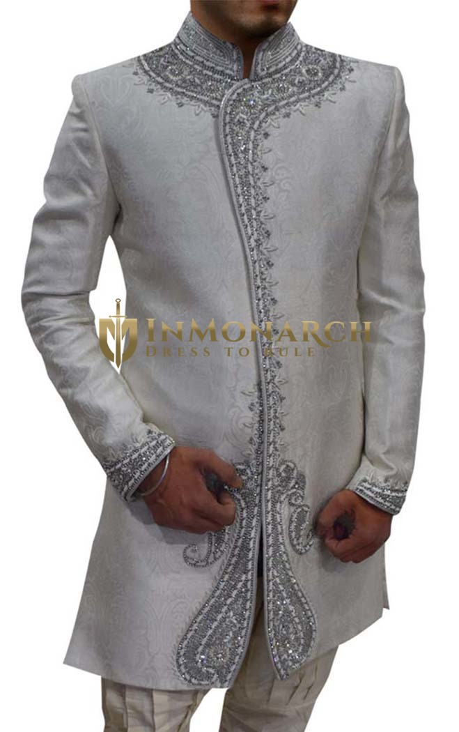 Mens Cream Brocade 2 Pc Indo Western Wedding