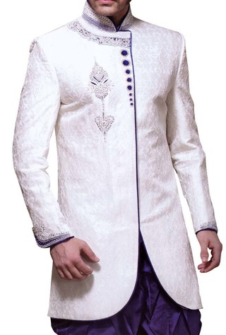 Indian Wedding Clothes for Men White Indo Western Velvet Piping