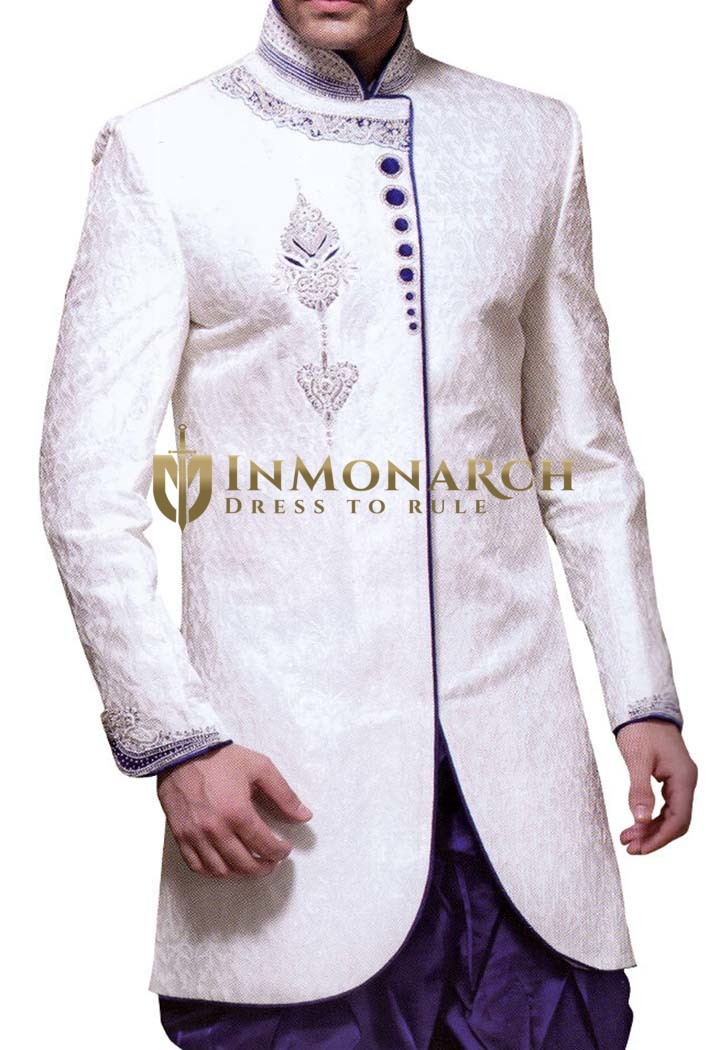 Mens White Brocade 2 Pc Indo Western Velvet Piping