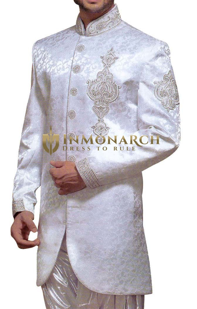 Mens Sherwani White Indo Western Embroidered Indian Wedding Clothes