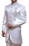 Mens White Brocade 2 Pc Indo Western Embroidered