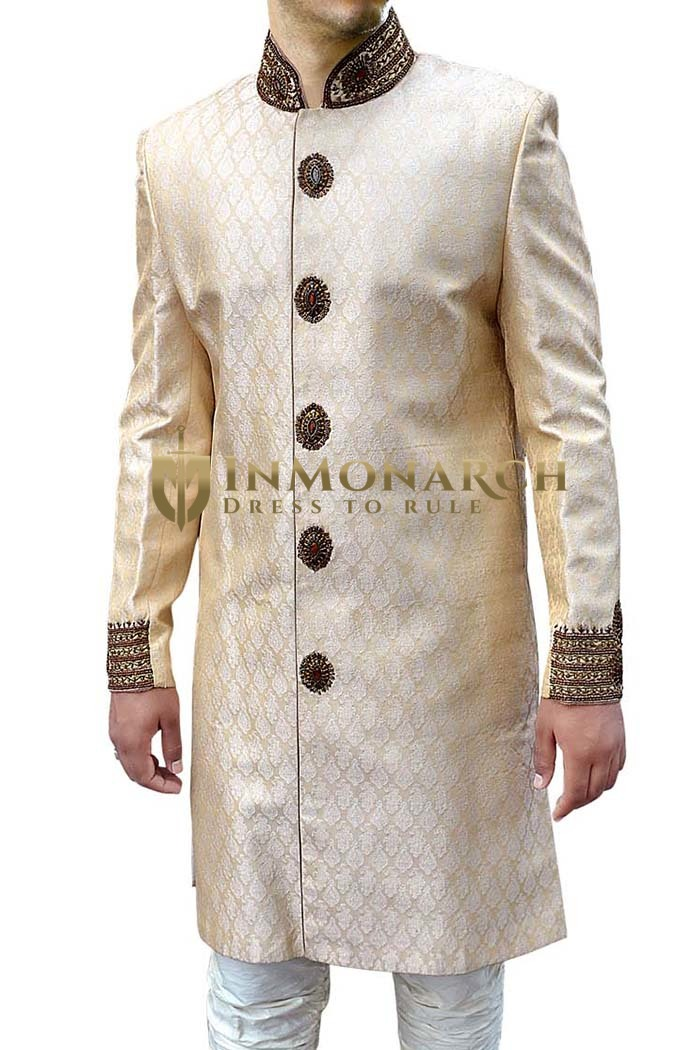Mens Beige Indo Western Sherwani for Men Wedding Sherwani