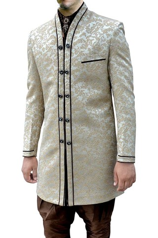 Mens Cream Brocade 4 Pc Indo Western V Neck