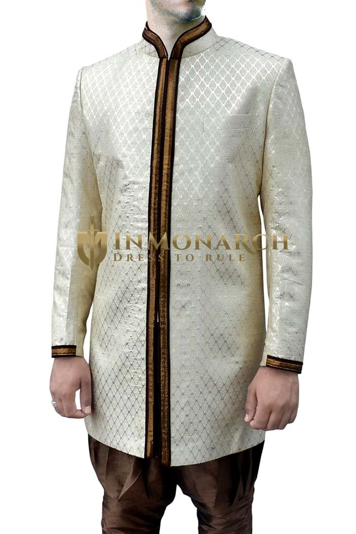Mens Cream Brocade 2 Pc Indo Western Brown Trimmed