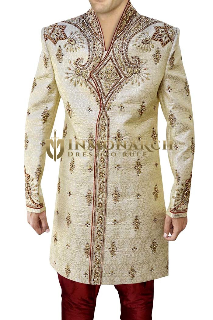 Sherwani for Men Wedding Beige Indo Western Hand Work High Neck