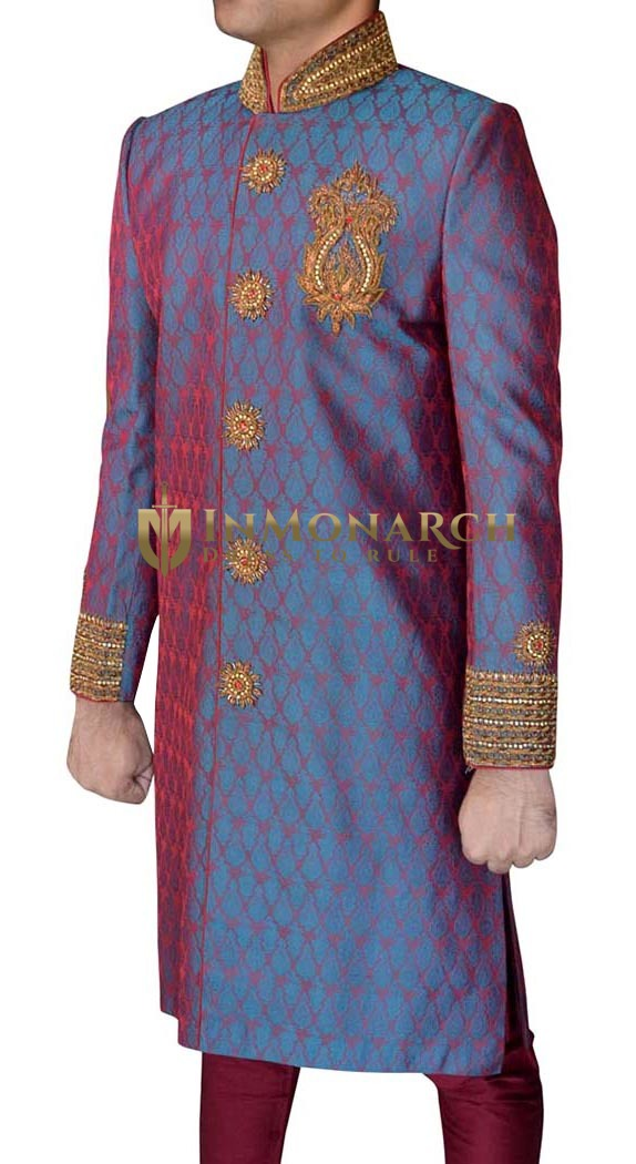 Wedding Sherwani Blue Indowestern Suit Party Wear Sherwani for Men