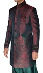 Mens Brown 2 Pc Indo Western Embroidered