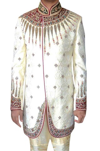Mens Indian Wedding Clothes Cream Indo Western Ethnic Designer Sherwani