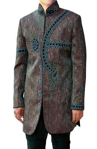 Mens Maroon 2 Pc Indo Western Pakistani Designer