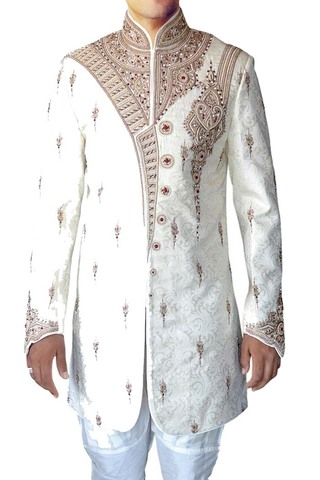 Mens Wedding Sherwani Cream Indo Western Indian Sherwani Ethnic