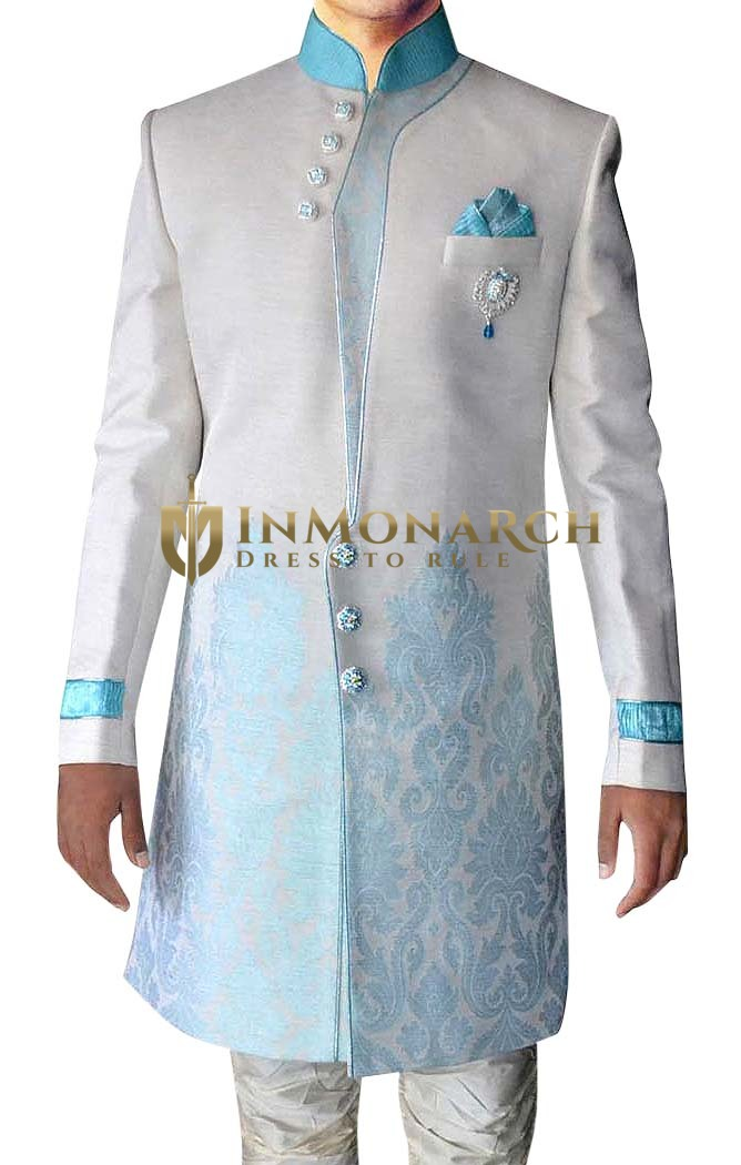 Sherwani for Men Cream Indo Western Indian Wedding Clothes Sherwani Threaded