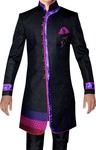 Mens Sherwani kurta Black Indo Western Brocade Indian Sherwani
