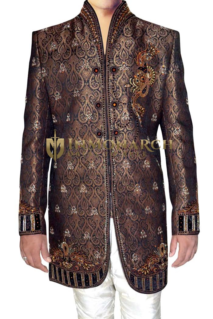 Sherwani for Men Brown Indo Western Wedding Sherwani Embroidered