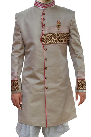 Indian Sherwani for Men Almond Indo Western Ethnic Designer Sherwani